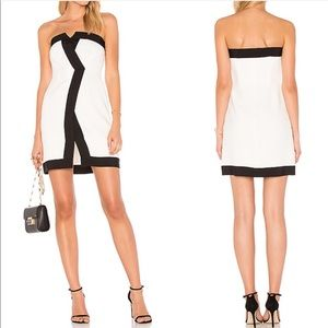 Rachel Zoe Asymmetrical Contrast Strapless Dress